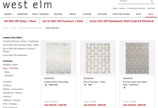 Poor UX searching for sale rugs on the West Elm website